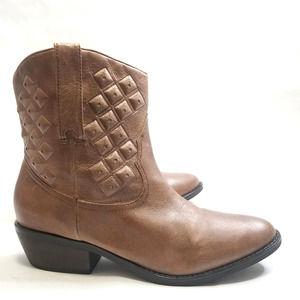 Yellow Box Padma Leather Studded Cowboy Boot